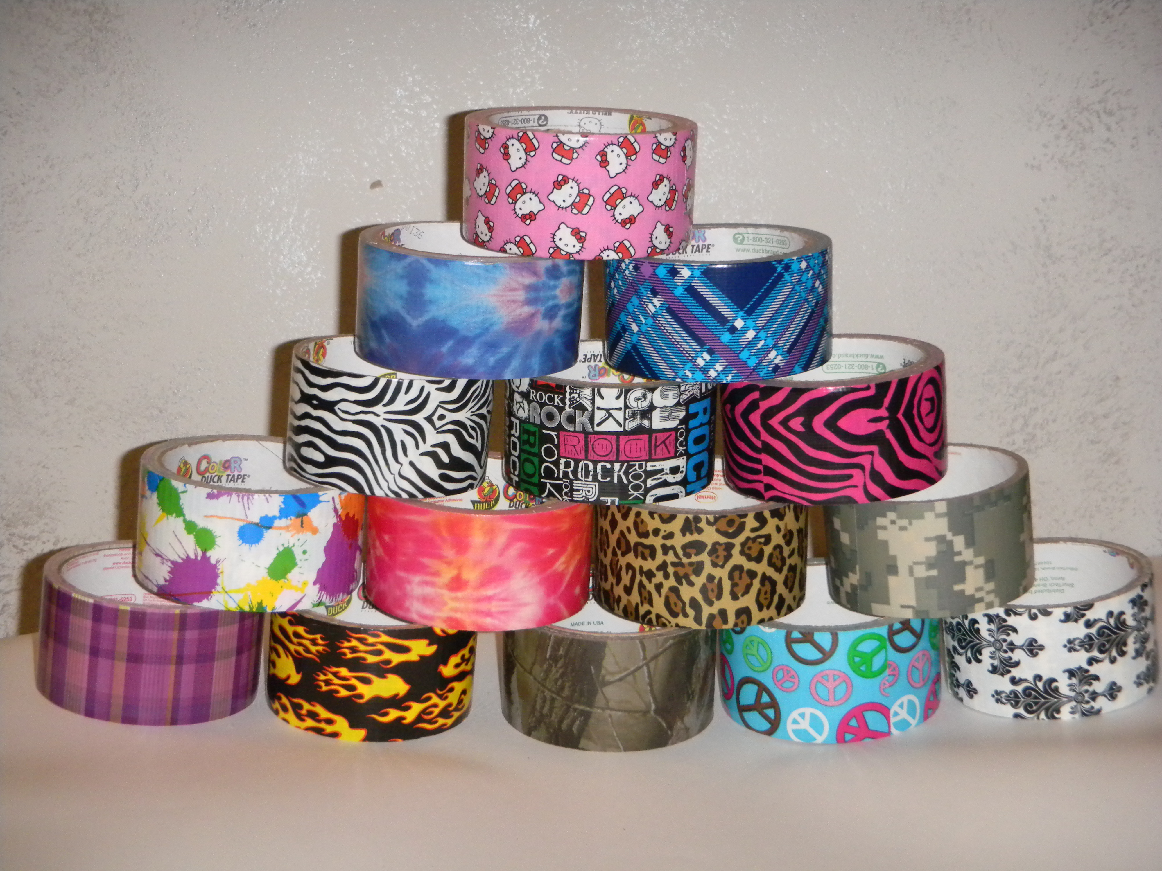4 5 11 Tower Of Printed Duct Tape 187 Ductapewallet Com