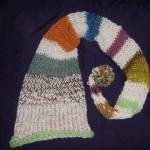 All Alpaca hand knit by sandi, Rainbow fairy hat, containing some dyed alpaca yarn.
