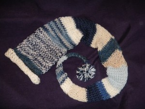 blue and white part alpaca fairy hat