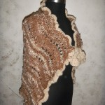 One of a kind brown and cream hand spun suri alpaca hand knit shawl with flare and loop closure