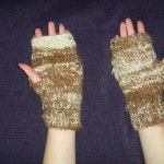 "Handspun Suri alpaca hand knit fingerless gloves ""Texting gloves"""
