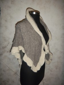One of a kind silver suri alpaca hand knit shawl with flare and loop closure
