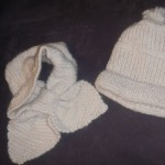 White hat and scarf set 100% alpaca hand knit by Annette!