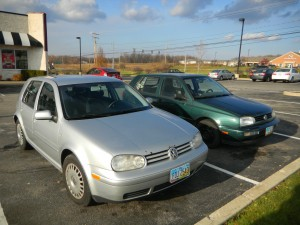 Daniels silver '01 Golf next to Jade my '96 green golf