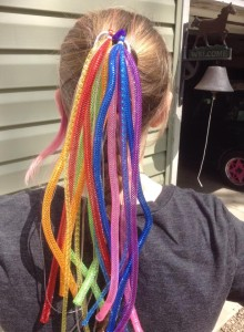 rainbow fairy hair in pollyannas hair